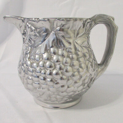 Vintage Wilton RWP Polished Aluminum Grape Cluster Embossed Pitcher