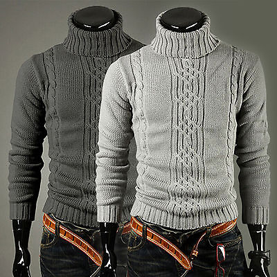 Men Fall Winter Knitted Sweater Roll Turtle Neck Pullover Sweatshirt Jumper Tops