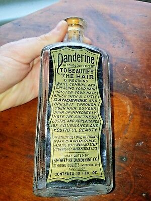 Antique Bottle W/ Original Label Knowlton DANDERINE Co. 10 Fld Oz. Beautify Hair