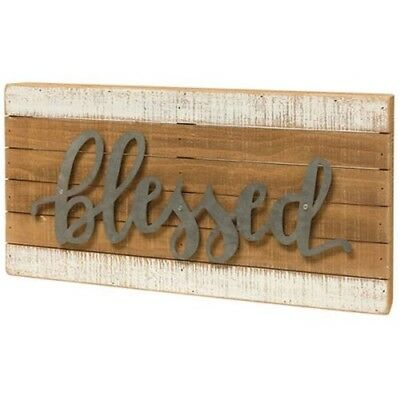 Blessed Metal Slat Box Sign~wooden, distressed~inspirational~galvanized, hanging