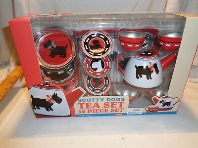NEW in box scottie dog tea set 15 pieces metal by SCHYLLING black & white dogs