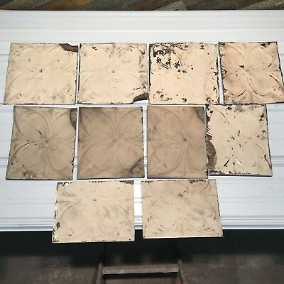 "10pc Lot of 12""and under Antique Ceiling Tin Vintage Reclaimed Salvage Art Craft"