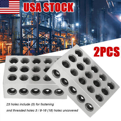 "1Pair (2) 1-2-3 Block Set 0.0002"" Precision Matched Mill Machinist 123 23 Holes"