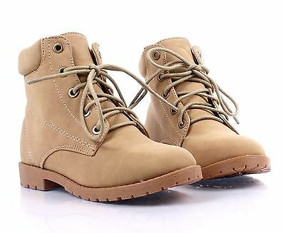 Link Girls Military Faux Leather Ankle Boots Shoes B3K Youth 9-4