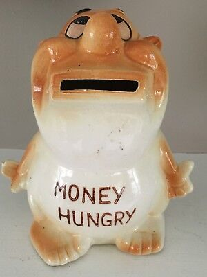 Vintage Ceramic Piggy Bank Japan Money Hungry Greedy Man W Open Mouth Novelty