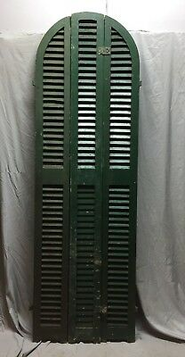 Antique Set Arched Shutters Wood Louvered Window House 26X82 Vintage 469-18C