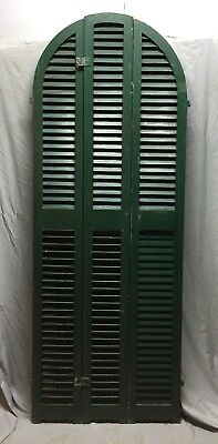 Antique Set Arched Shutters Wood Louvered Window House 30X82 Vintage 470-18C
