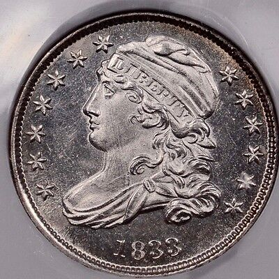 1833 JR-4 Capped Bust dime, NGC MS62, fully prooflike...WOW  DavidKahnRareCoins
