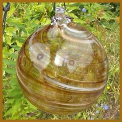 "Hanging Glass Ball 6"" Diameter ""Caramel Swirl"" Tree Witch Ball (1) #113"