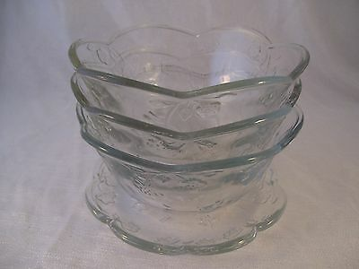 Anchor Hocking Savannah Glass Toscany Collection 3 Cereal Bowls & 1 Bread Plate