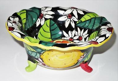 """Fiona Collins, Canada, The Art Bowl, Strawberry Hand Painted Footed Bowl, 10"""""""