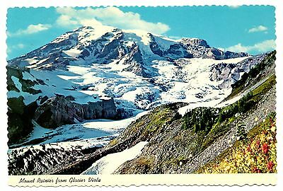 Mount Rainier Postcard Glacier Vista Washington State Vintage Unposted Cascades