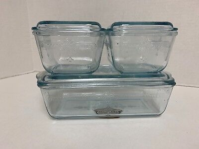 Fire King NEW OLD~STOCK Sapphire Blue Philbe Refrigerator Dish Set MINT!