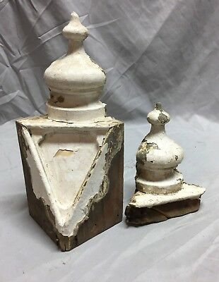 Pair Antique Corner Drop Finials Shabby Vintage Old Chic 472-18C