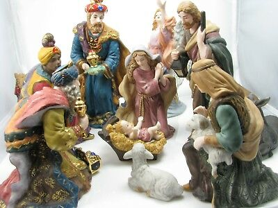 Christmas Nativity Figurines, 12 Exquisite Porcelain Hand-Painted Pieces