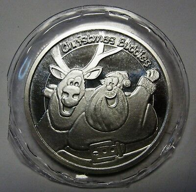 2015 Christmas One 1 Ounce Round .999 Pure Silver SANTA AND RUDOLPH
