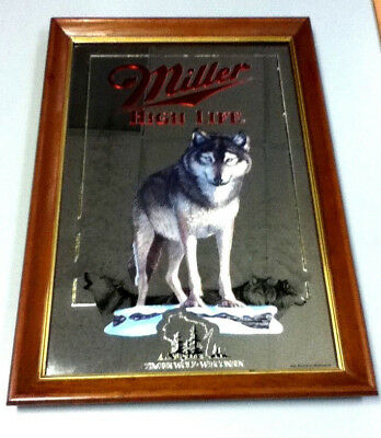 Miller high life beer mirror sign bar Wildlife series Timber wolf 3rd 1st MI3