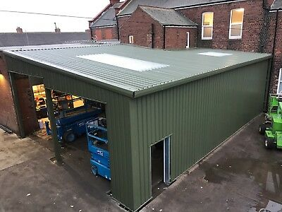 Steel buildings Extension Portal Frame Building Storage Workshop, Green Cladding