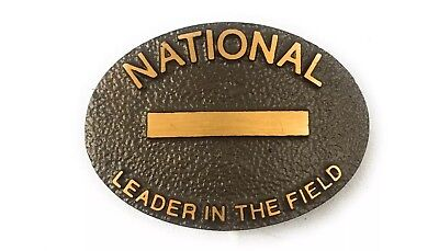 Vintage National Leader In The Field Armco Inc. Brass Oval Belt Buckle