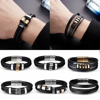 Fashion Men's Women Genuine Leather Braided Cuff Bangle Punk Wristband Bracelet