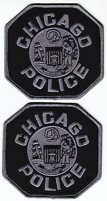 2 Chicago IL Illinois Police patches SUBDUED grey on black tactical