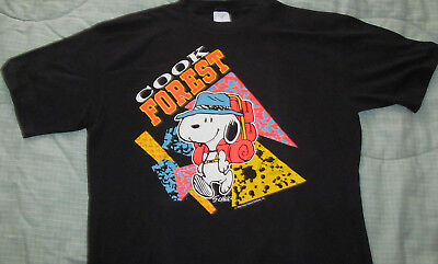 Original Vintage 1970s SNOOPY COOK FOREST Neon camping Black T-shirt sz L Large