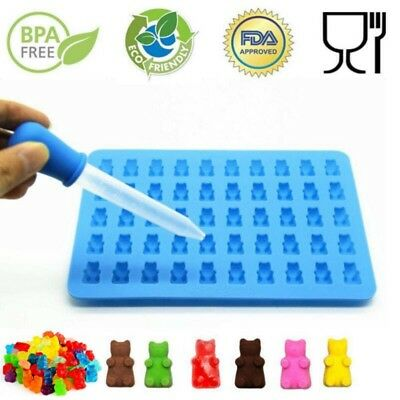 50-Gummy Bear Chocolate Silicone Mold Candy Art Craft Maker Ice Tray Jelly Mould