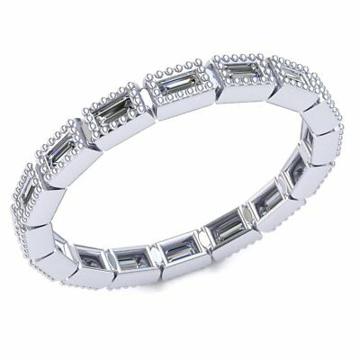 Natural 1 Ct Baquette Diamond Ladies Milligrain Stackable Eternity Band 10K Gold