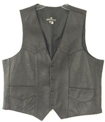 Western Express Size 46 Men's Leather Vest Snaps Cowboy Rodeo Rockabilly Lined