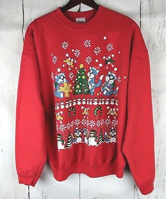 Womens Mens VINTAGE UGLY CHRISTMAS SWEATER  Red XL Cats Santa Tree Hanes 90s