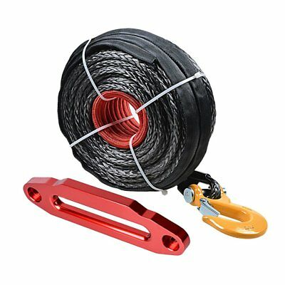 """95' 3/8"""" Black Synthetic Winch Rope Recovey 20500LBs+Hook+Red 10"""" Hawse Fairlead"""
