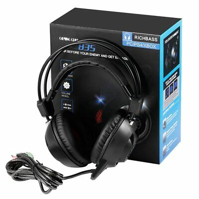 3.5mm USB LED PC835 Game Light Headset Headphones For PC Mac Laptop PS4 Xbox One