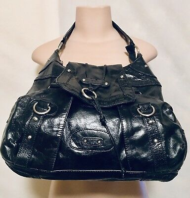 Hype Black Patent Leather Hobo Bag Handbag With Outer Pockets cb9d3c8ca480c