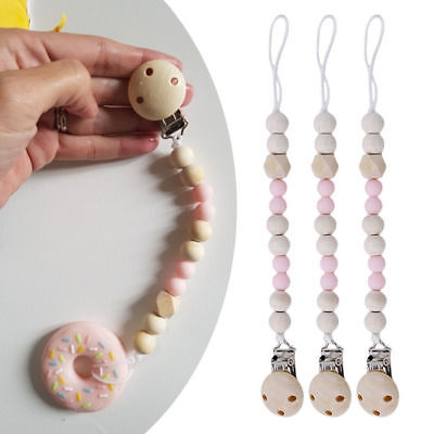 Baby Cute Pacifier Clip Wooden Chain Soother Nipple Leash Strap Pacifier Soother