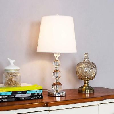 Modern Style Chrome Living Room Bedside Crystal Table Lamp White Fabric Shade