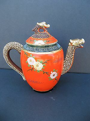 Vintage Japanese Satsuma Teapot Dragon Flowers Bird