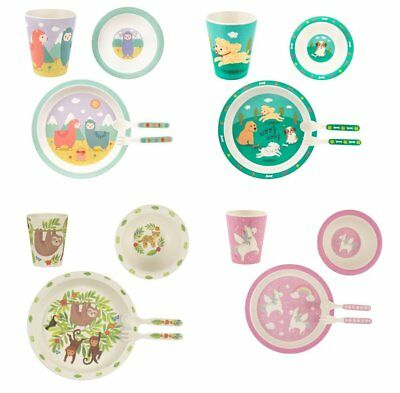 Sass & Belle Bamboo Childrens Cup Plate Bowl Cutlery Tableware Set