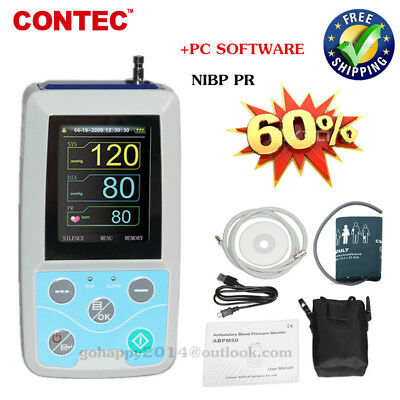 handheld ambulatory blood pressure monitor 24 hours NIBP PR PC software ABPM50