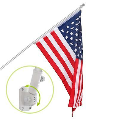 Heavy Duty 6ft Flag Pole Tangle Free Outdoor Yard Residential W/ American Flag