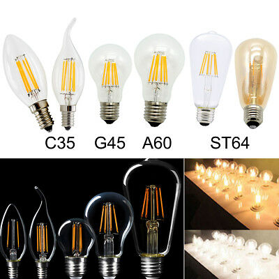 Vintage Dimmable E12 E27/E26 2W 4W 6W 8W LED Filament Light Candle Globe Bulb
