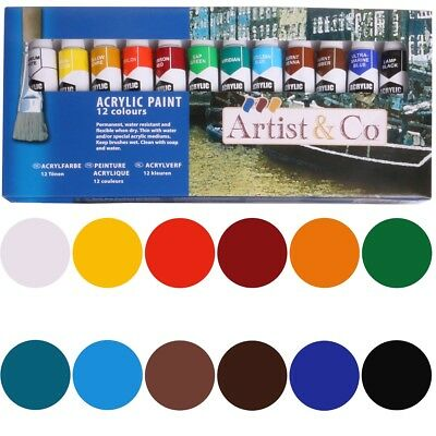 12 COLOURS ACRYLIC PAINT SET 12ml Artist Quality Thick Water Resistant Tubes