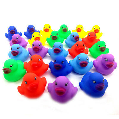 12pcs Colorful Mini Rubber Duckies Ducks Baby Shower Kids Toy Squeaky Water Play