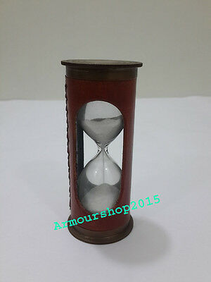 Brass Sand Timer Vintage Nautical Leather Sand Timer Marine Gift Item