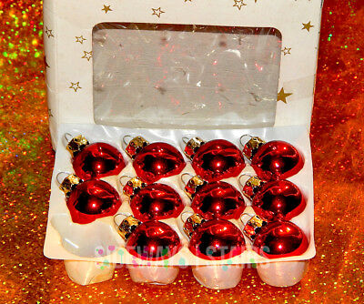VINTAGE MINI RED BALL GLASS CHRISTMAS ORNAMENTS 25mm federated dept. pre-macy's