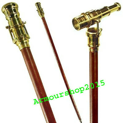 Handmade Wooden Foldable Walking Stick Cane with Nautical Brass Telescope Handle