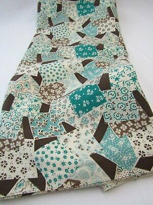 Vintage Cotton Blend Fabric Robins Egg Blue Brown Atomic Decor Quilt 1.5 YDS