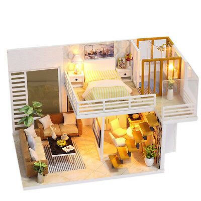 Dollhouse Miniature DIY Kit With BOX Wood Toy Doll House Cottage W/LED Lights