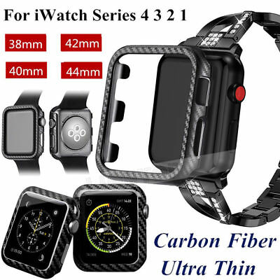 For Apple Watch Series 4/3/2/1 Carbon Fiber Bumper Case Cover Protector it RR