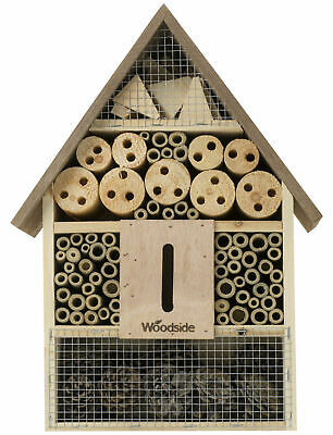 Woodside Wooden Insect Bee House Natural Wood Bug Hotel Shelter Garden Nest Box