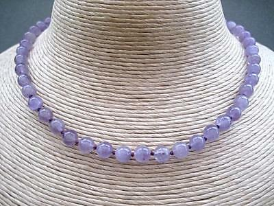 """Elegant Knotted Polished Natural Amethyst Bead Necklace 18"""" February Birthstone"""